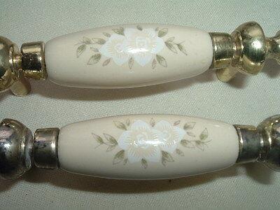 Vintage Pair Creme Porcelain Floral Drawer Pulls Handles Goldtone 2