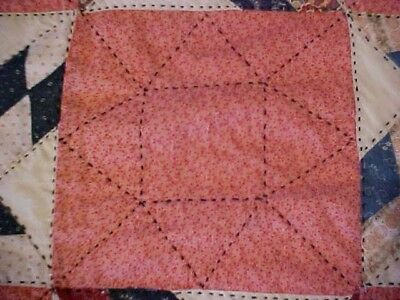 Vintage 1920/30s  QUILT, LOTSA PATTERNED RED &  BLACK EMBROIDERY 2