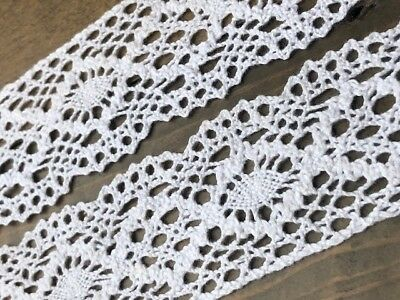 """laverslace Pale Ivory Iridescent Vintage Cotton Cluny Crochet Lace Trim 1.5/""""//4cm"""