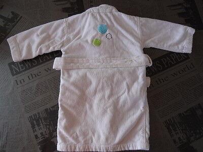 Peignoir kimono blanc  en éponge motif ronds et fleurs CARRE BLANC Taille 2 ans 9