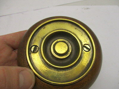 Victorian Round Brass Doorbell Wooden Surround Architectural Antique Old Push