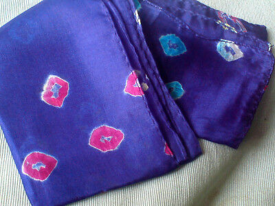 """INDIAN100/% SILK HANDMADE SCARF BLACK with FLORAL DESIGN 6/"""" x 40/""""  £6.50 NWT"""