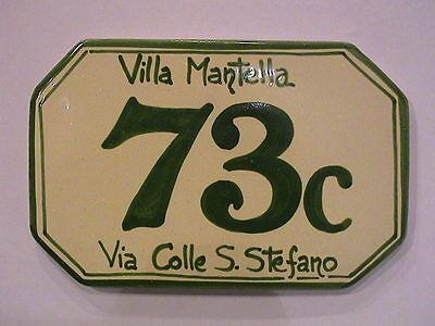 Cm 22 X 17 Numero Civico Personalizzato Targa Ceramica Mattonella