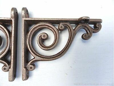 Pair Small Victorian Style Cast Iron Simple Brackets Shelf Bracket Cistern  V1 2