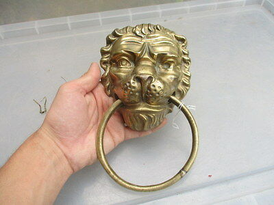 Old Brass Lion Head Door Knocker Handle Pull Loop Vintage Architectural Salvage 7