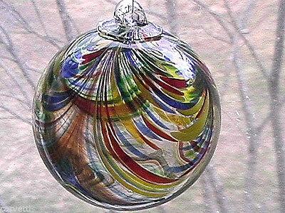 """Hanging Glass Ball 4"""" Red, Yellow, Orange, Green & Blue Swirls (1) HB54-2"""