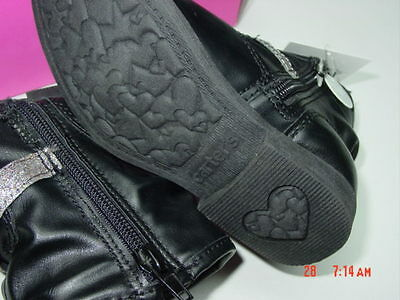 NWOT NWB Carter/'s Infant//Toddler Girls Black with Glitter Zipper Pull On Boot