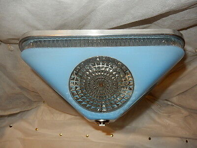 Art Deco BLUE Square Glass Light Fixture Ceiling Chandelier 1940s-----Pr. Avail. 2