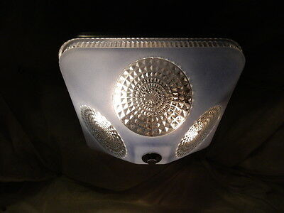 Art Deco BLUE Square Glass Light Fixture Ceiling Chandelier 1940s-----Pr. Avail. 6