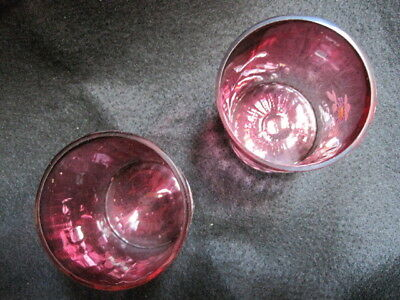 Vintage Matching Pair 1800's Victorian Cranberry Glass Floral Enameled Tumblers 2