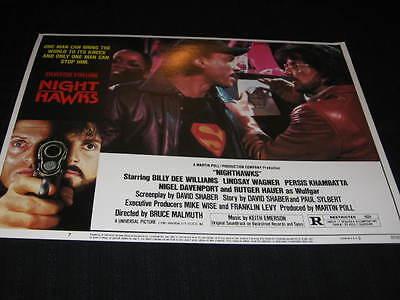 Nighthawks Sylvester Stallone Billy Dee Williams Hauer Original Lobby Card #2
