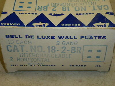Nos! (2) Bell Interchange 2-Gang Wall Plate, 4-Hole Horizontal, Brown, 18-2-Br