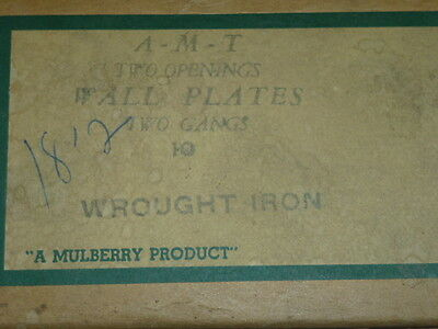 Nos! A-M-T Interchange 2-Gang Hammered Wrought Iron Finish Wall Plate, 4-Hole 3