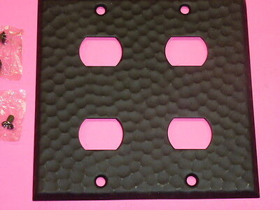 Nos! A-M-T Interchange 2-Gang Hammered Wrought Iron Finish Wall Plate, 4-Hole 2