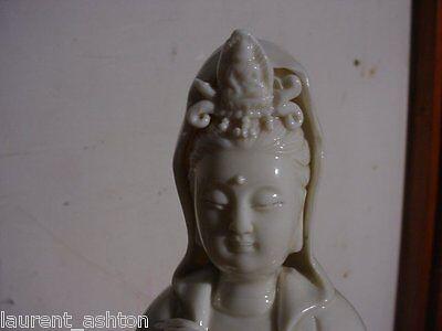 Blanc De Chine Chinese Porcelain Statue Guanyin Kwanyin Quanyin Qing / 20th Cent 4