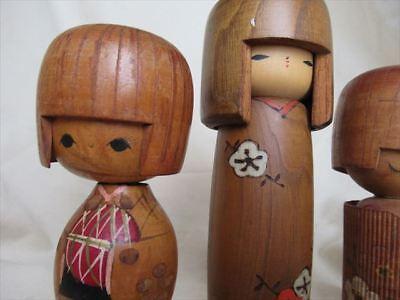 Cute kokeshi Japanese antique wooden doll 2 set 3