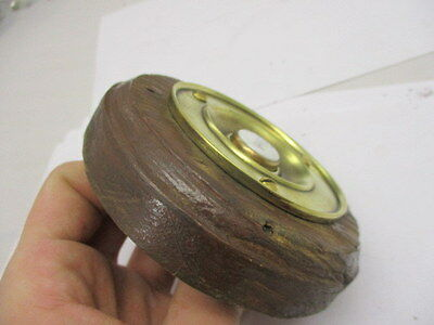 """Victorian Round Brass Door Bell with Porcelain """"PRESS"""" Architectural Antique Old 5"""