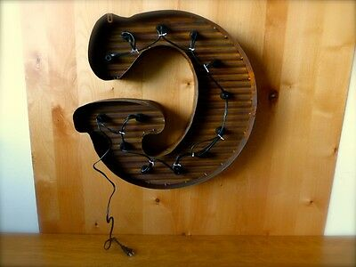 """LG BROWN VINTAGE STYLE LIGHT UP MARQUEE LETTER G, 24"""" TALL novelty rustic sign 3"""