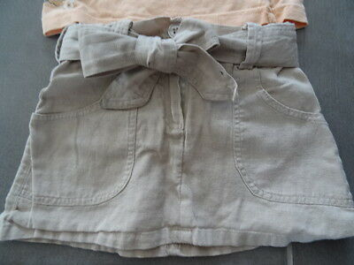 Ensemble jupe lin beige 2 ans + t-shirt saumon imprimé fleurs à paillette 3 ans 2