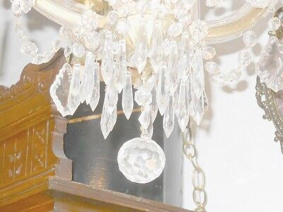 Antique Round 3 Light Crystal Chandelier w/ Unique Prisms, Glass Over Brass Arms 4