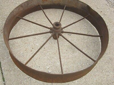 Vintage Rustic Rusty Iron Farm Implement Wheel Farm decor 5