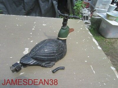 Old Cast Iron Sitting Floating Duck Lawn Sprinkler