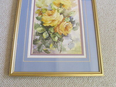 Vintage Yellow Roses Long  Flowers Water Color Painting Framed Signed Mystery 3