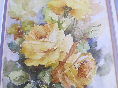 Vintage Yellow Roses Long  Flowers Water Color Painting Framed Signed Mystery 4