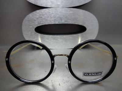 f81ba5f4172b ... CLASSIC VINTAGE 50 s RETRO Style Clear Lens EYE GLASSES Round Black    Gold Frame 5