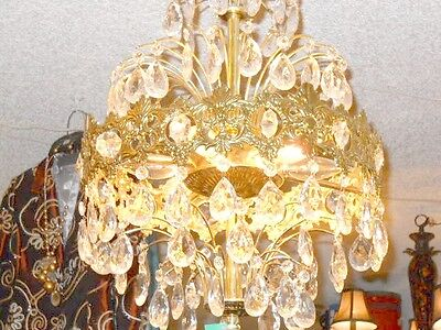 Antique European Coronal Brass and Crystal 6 Bulb Chandelier w/ 2 Types Prisms 4