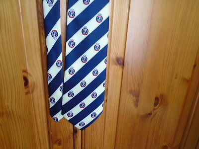 Mens blue and cream stripe silk tie with shield, designer RENE CHAGAL, vintage 2
