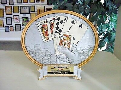 """POKER TROPHY LARGE TWO POST HOLD EM POKER CARDS AWARD FREE LETTERING 21/"""" TALL"""