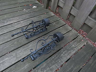 Pre-Owned Set Of Black Wrought Iron Wall Sconces International Sale 2