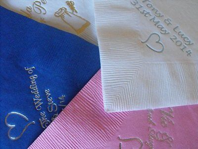 100 x  Personalised luxury Dinner 3 Ply  Wedding  Napkins 3