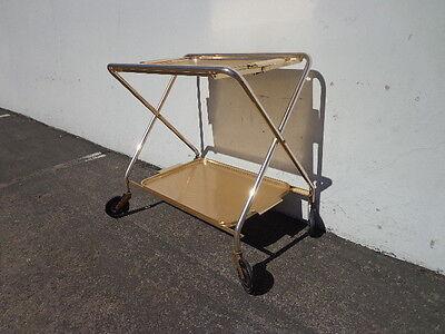 Mid Century Bar Cart Woodmet Folding Gold Copper Brass Vintage MCM Tea Serving 2