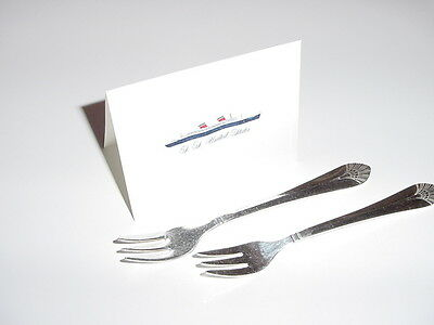 SS UNITED STATES LINES  (2) Silver Cocktail Forks  /  Top Condition