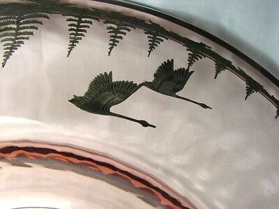 BEST Antique Deco Signed Rockwell Silver Overlay Geese Vintage Optic Glass Dish 4