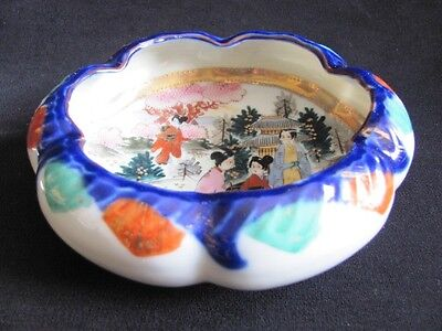 Antique Japan Nippon Geisha BOWL Kutani Bibi gilt moriage ALL hand painted 4