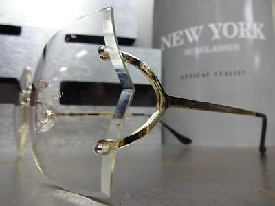 cbd76722c822 ... OVERSIZED VINTAGE RETRO Style Clear Lens EYE GLASSES Large Rimless Gold  Frame 5