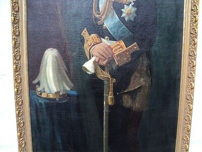 """King Alexander of Greece 1917 1920 Huge Oil Painting 81""""  tall Signed by artist 3"""