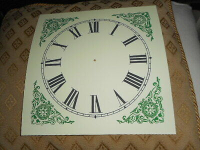 "Large Paper (Card) Clock Dial - 7"" M/T - Green Corners - MATT - Parts/Spares  * 2"
