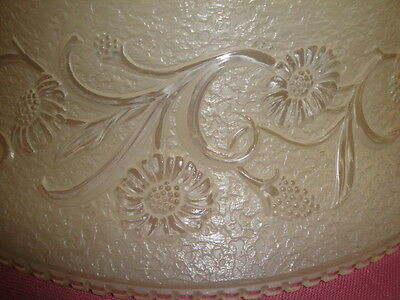 "Antique Embossed Art Glass Shade 16 1/4"" Across 3"