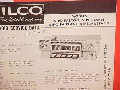 1965 ford mustang fairlane falcon ranchero comet philco am radio  service manual 2