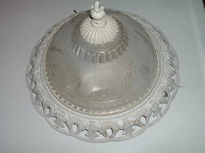 Antique Vintage Ceiling Lighting Fixture Frosted Floral Glass Enamel over Metal 2