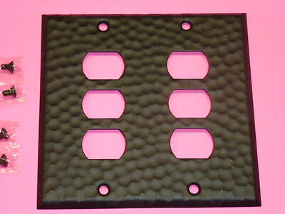 Nos! A-M-T Interchange 2-Gang Hammered Wrought Iron Finish Wall Plate, 6-Hole 2