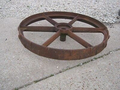 "Vintage Rustic Rusty Iron Farm Implement Wheel  farm decor 31 1/2"" diameter 4"