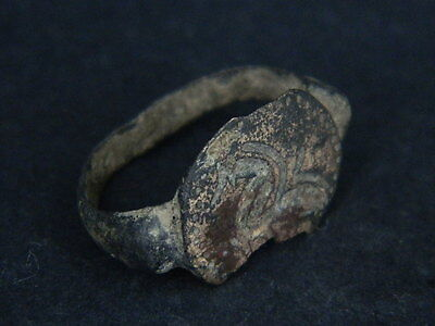 Ancient Bronze Seal Ring Bactrian 300 BC      #B277 6