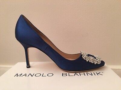 3cbe16b706326 ... NIB New MANOLO BLAHNIK Hangisi 90 Pearl Satin Pumps BLUE MB Sizes  38-40.5 $965