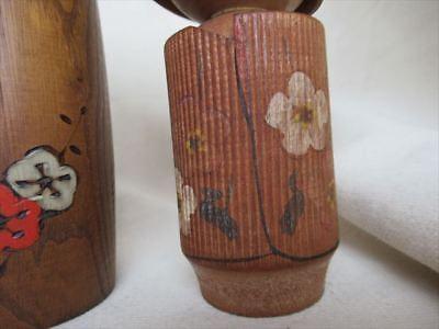 Cute kokeshi Japanese antique wooden doll 2 set 7