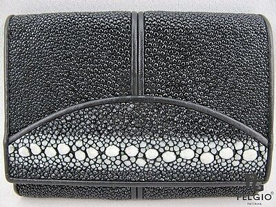 PELGIO Real Genuine Row  DIamond Stingray Skin Leather Trifold Wallet Black